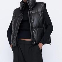 Autumn Winter Women Black Warm Faux Leather Vest Coat Casual Zipper Sleeveless Jacket Female Short Cotton Outwear Tops Ladies