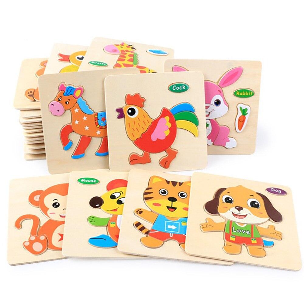 Baby Toys Wooden 3D Puzzle Cartoon Animal Traffic Intelligence Kids Educational Brain Teaser Children Tangram Shapes Jigsaw Gift