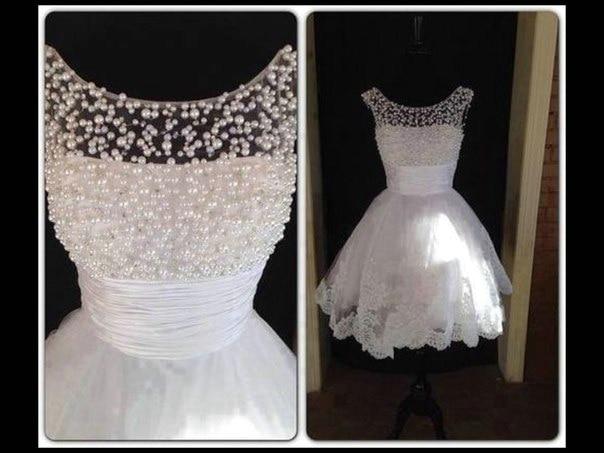 Hot Selling White Graduation Dresses 2014 RKH15.3 Beading Scalloped Neckline Sweet 16 Dresses Short Homecoming Dress