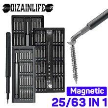 Jeu de tournevis de précision 25/63 en 1, embouts de tournevis magnétiques Phillips, poignée hexagonale, Kit de réparation de téléphone portable