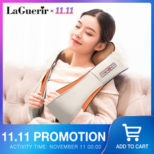 LaGuerir Home Car U Shape Electrical Shiatsu Back Neck Shoulder Body Massager Infrared Heated Kneading Car/Home Massager