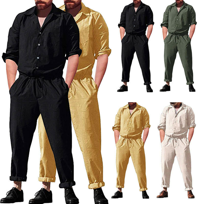 2020 New Men Long Sleeve Jumpsuits Overalls Autumn Trousers Working Plus Size Pants With Pockets Casual Overall Male M-3XL