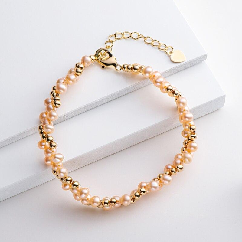 Lnngy 14K bracciale multistrato riempito in oro 4-5mm naturale d'acqua dolce ovale perla intrecciata braccialetto moda donna gioielli braccialetto 2