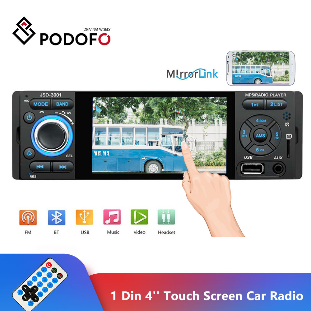 Podofo Car Radio 1 Din Autoradio 4 Inch Touch Screen Auto Audio Stereo Multimedia Player Mirror Link Bluetooth USB AUX FM SWC image