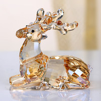 Crystal Cartoon Cute Sika Deer Figurines Car Ornament Aniaml Paperweight Wedding Gift Multicolor Interior Lady Favor Gift