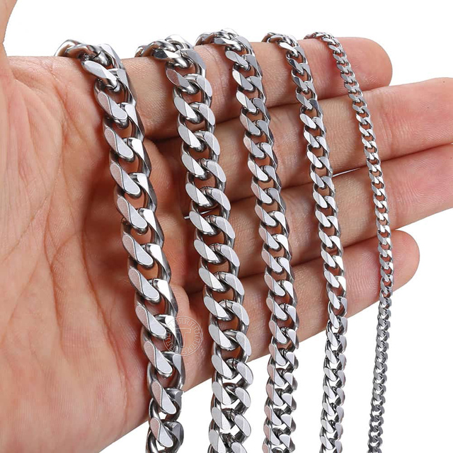 Size 3-9mm Men's Necklace Stainless Steel Cuban Link Chain Gold Black Silver Color Male Jewelry Gifts for Men KNM07 4