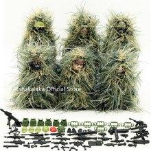 Traje de Ghillie para niños, Ejército de camuflaje militar, soldado de las Fuerzas Especiales de la guerra, SWAT, figura de bloques de construcción DIY, juguetes educativos, regalo para niños, 6 uds.