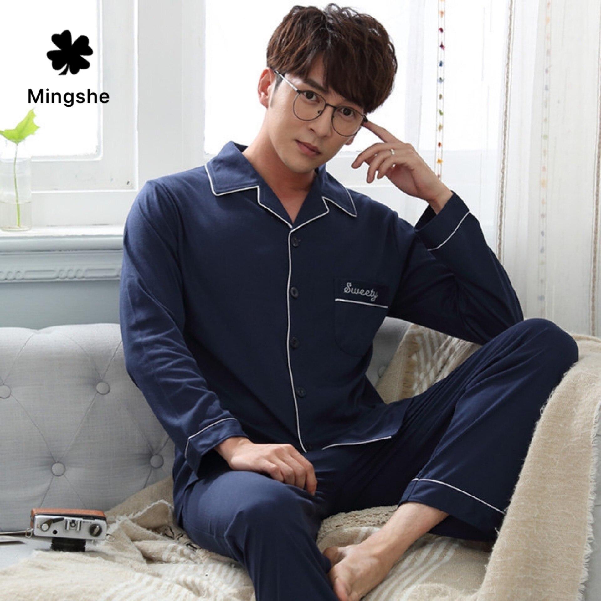MS, новинка 2019, осенне-зимний Кардиган с отворотом, вязанный хлопок, простая атмосфера, одноцветная Мужская пижама, домашняя одежда