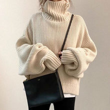 Korean Turtleneck Sweater Women Fall and Winter Christmas Beige Warm Female Solid Wild Basic Full Sweater Knitting Pullovers Top(China)