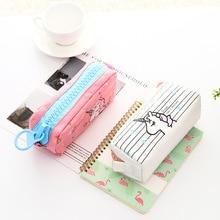 Cute Cartoon Animal Unicorn Pencil Cases Kawaii Canvas Large Capacity Creative Case Big Zipper Storage Bag pen case