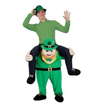 Lucky Leprechaun Mascot Costume Adults Cosplay St. Patrick's Day Ride On Dress