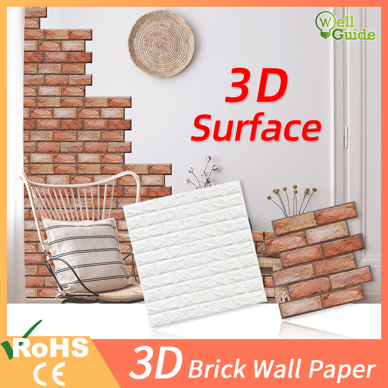 1pc/5pcs 3D Wall Paper Brick Wall Stickers Waterproof DIY Self-Adhesive Decor For Bedroom Kids Room Living Room Wallpaper Paper