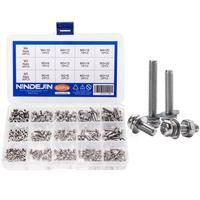NINDEJIN 320pcs M2 M3 M4 Screws Phillips Pan Head Screws Bolt and Nut Flat Washers Machine Screws Set Stainless Steel Screws|Screws|   -