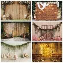 Laeacco foto fundo antigo parede de madeira casamento palco festa flores grinalda vela criança retrato foto fundos estúdio