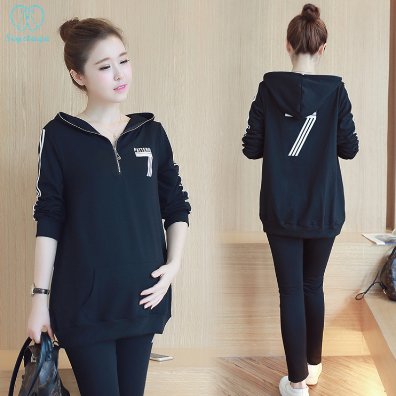 3605# Autumn Spring Cotton Maternity Clothing Suits Sports Casual Hoodies Sweatshirts Clothes For Pregnant Women Pregnancy Sets