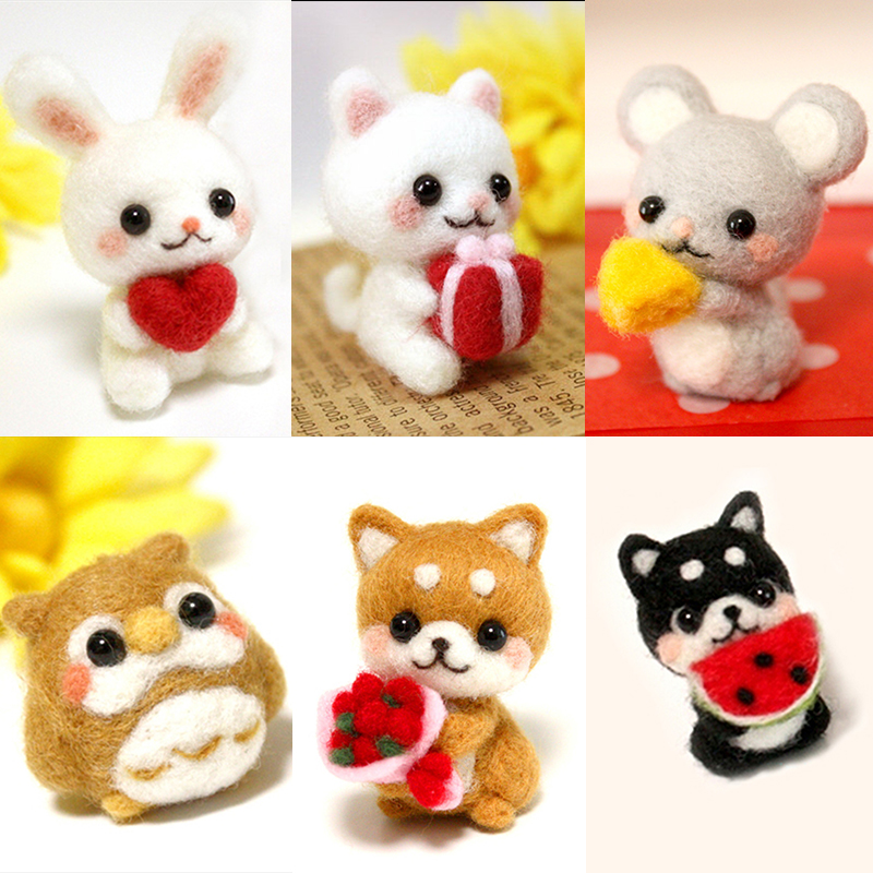 MIUSIE Lovely Custom Dog Kitty Cat Rabbit Pets Handmade Toy Doll Wool Felt Poked Kitting Non-Finished DIY Wool Felting Package