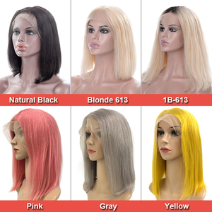Image 3 - עלי מלכת שיער 13x 4/13x6 תחרה מול פאות 180% צפיפות בלונדינית/ורוד ברזילאי ישר רמי שיער טבעי שחור קצר בוב פאות