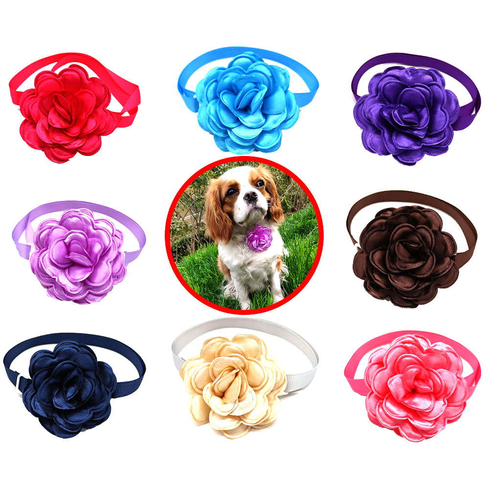 1 Pcs New Design Colorful Flower Pet Accessories Dog Bow Tie Can Adjustable Neck Strap For Dog Cat Pet Grooming Pet Supplier