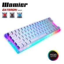 Womier K66 tuşları çalışırken değiştirilebilir mekanik oyun klavyesi Tyce C kablolu RGB arkadan aydınlatmalı Gateron anahtarı kristal tabanı PC dizüstü bilgisayar