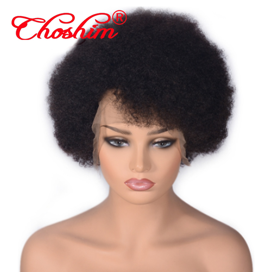 Монгольский афро кудрявый вьющиеся парики из натуральных волос с Африканской структурой, Choshim 13x6 Синтетические волосы на кружеве парик