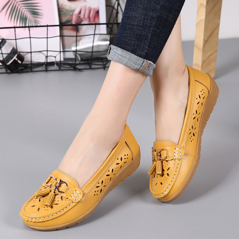 Women Moccasins Woman Tassel Hollow Out Vulcanized Women's Slip On Wedges Female Mom Shoes Ladies Fashion Flats Plus Size 44