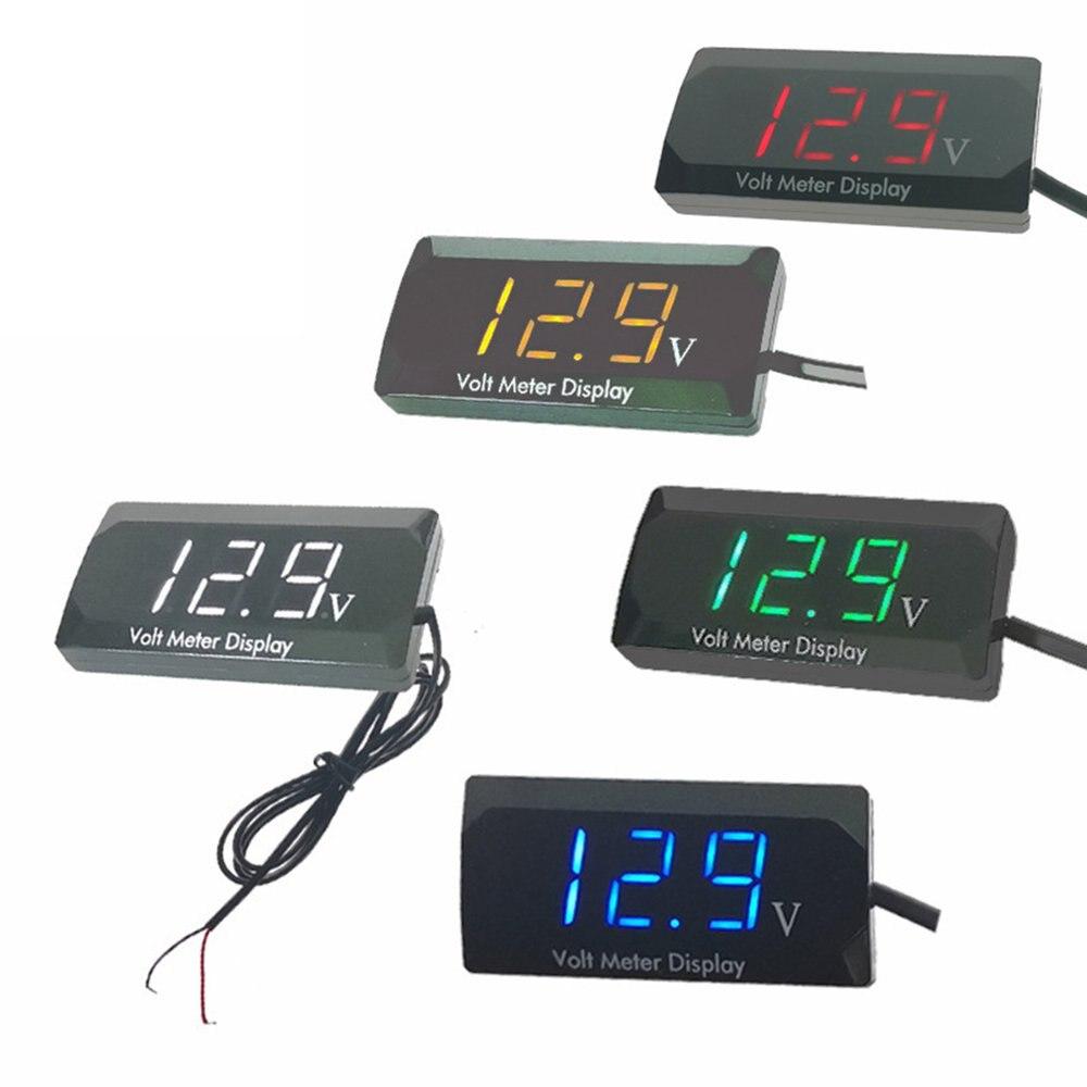 Светодиодный Дисплей Цифровой вольтметр Панель вольт Напряжение метр тестер защита от обратной связи 12V для автомобиля, мотоцикла, дропшип...