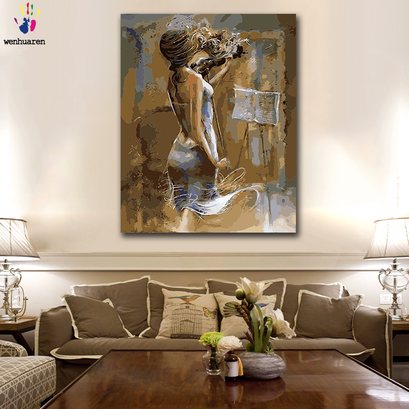 DIY Colorings Pictures By Numbers With Colors Woman Playing The Violin Picture Drawing Painting By Numbers Framed Home
