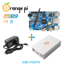 Orange Pi 3 Set12-alimentation optique 3, 2G + étui de protection, compatible Gigabit/wifi/BT/HDMI, sous Android 7.0, Ubuntu, Debian