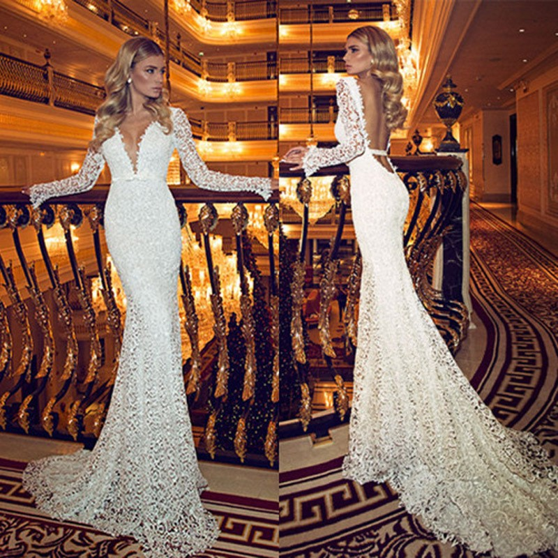 Best Selling Floor Length Lace Plunging Bridal Gown Sexy Backless Long Sleeves Lace Mermaid 2018 Mother Of The Bride Dresses