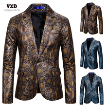 Bronzing Snake Printed Blazer Mens Suits Tuxedos Club Bar Wear Best Man Blazer Business New Fashion Groomsman Slim Casual Jacket