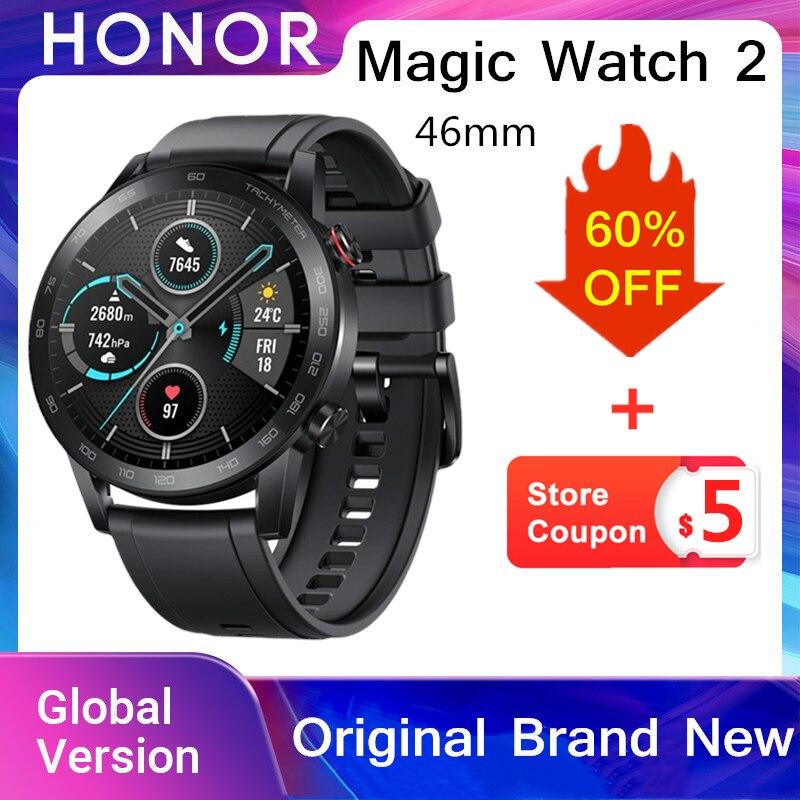 Honor Magic Watch 2 스마트 스포츠 시계 GPS 46mm AMOLED NFC 지불 Bluetooth 인디 음악 재생 메시지 알림 14 일