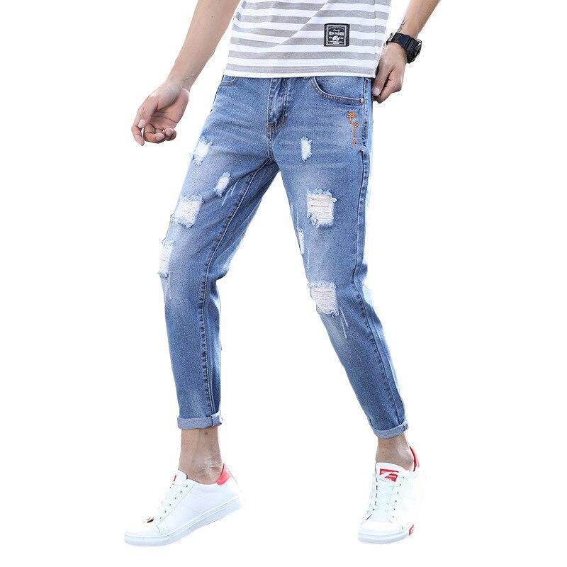 Shattered Jeans Men 2019 Summer Autumn Men Streetwear Loose Ripped Hole Pencil Denim Pants Plus Size