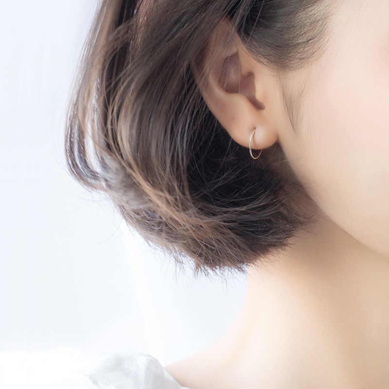 MloveAcc 100% 925 스털링 슬라이버 작은 작은 공 Huggie 서클 귀걸이 6mm 8mm 10mm 12mm 후프 귀걸이 쥬얼리 여성을위한