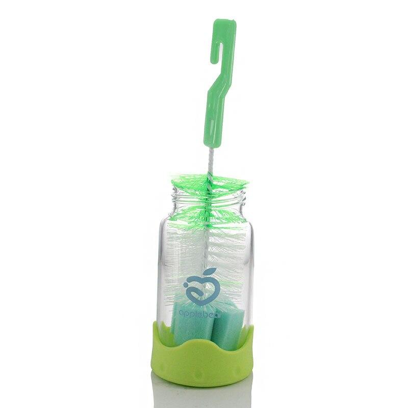 2Pcs Baby Teat Cleaning Feeding Bottle Brushes 360 Degree Rotating Sponge HI