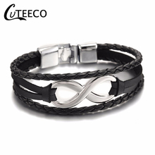 CUTEECO Mix Braided Wrap Leather Bracelets Electroplating number eight for Men W