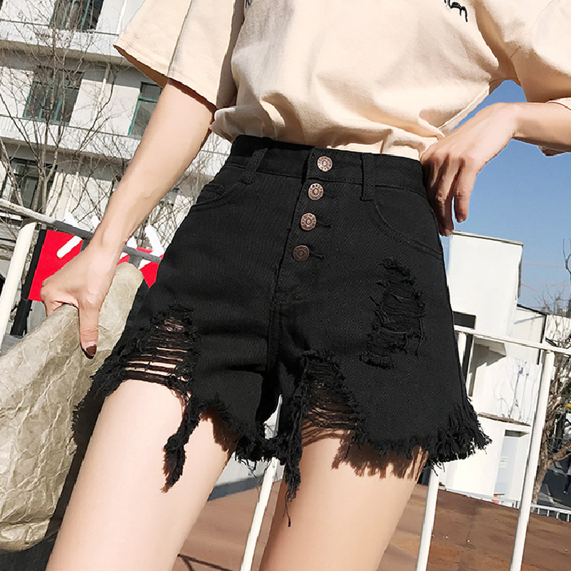 Hole High Waist Wide Leg Denim Shorts For Women 2020 New Jean Shorts Women Summer Korean Style Women Loose Short Shorts