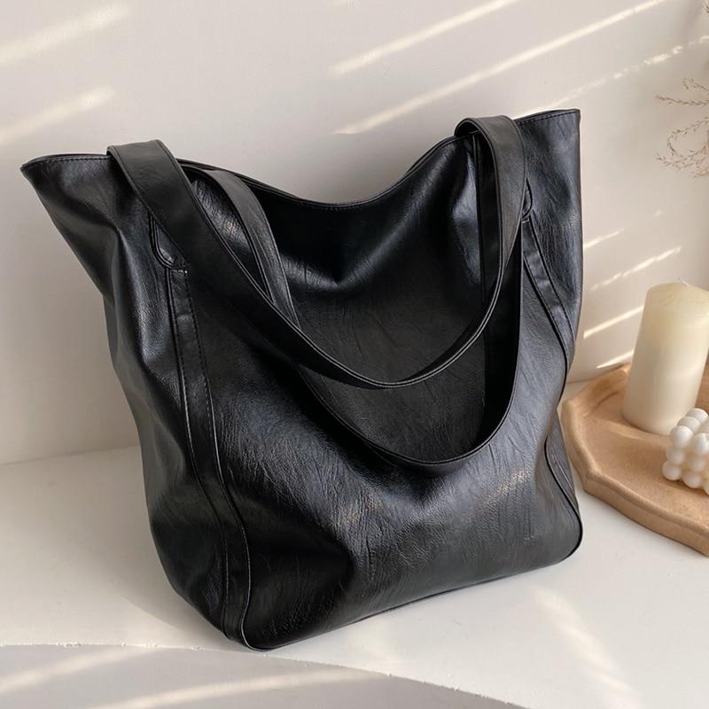 Burminsa Big Soft Women Tote Bags Minimalist Design Ladies Handbags Large Capacity Shopper Bags Work Female Shoulder Bags 2020