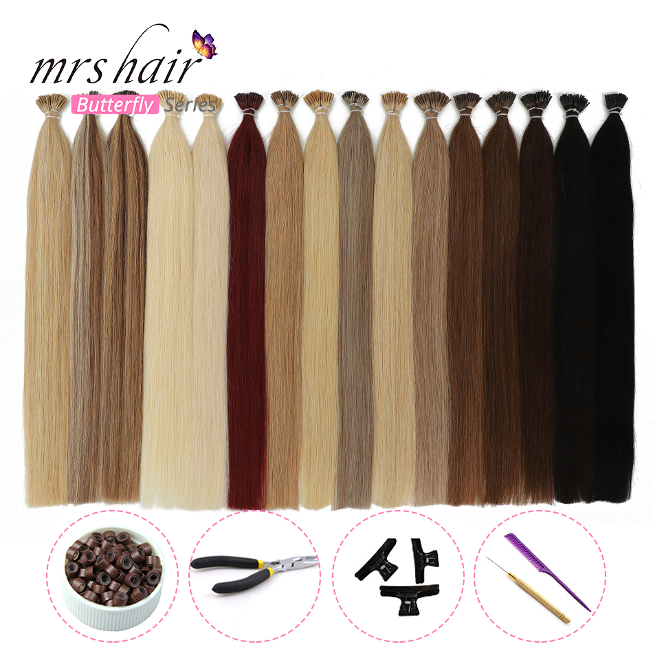 "MRSHAIR 1g/pc 16"" 20"" 24"" Pre Bonded Hair Extensions I Tip Machine Remy Straight Human Hair On Capsule Real Hair KITS"