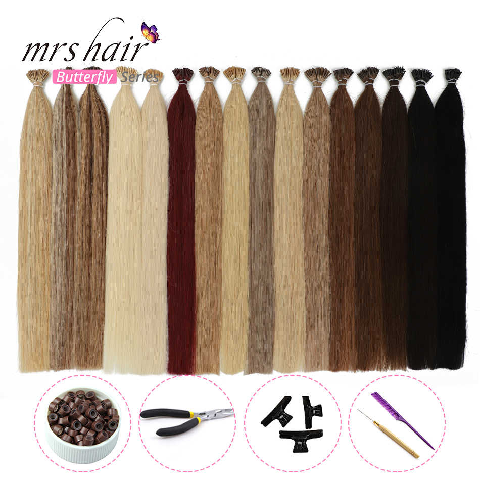 """MRSHAIR 1g/pc 16"""" 20"""" 24"""" Pre Bonded Hair Extensions I Tip Machine Remy Straight Human Hair On Capsule Real Hair KITS"""
