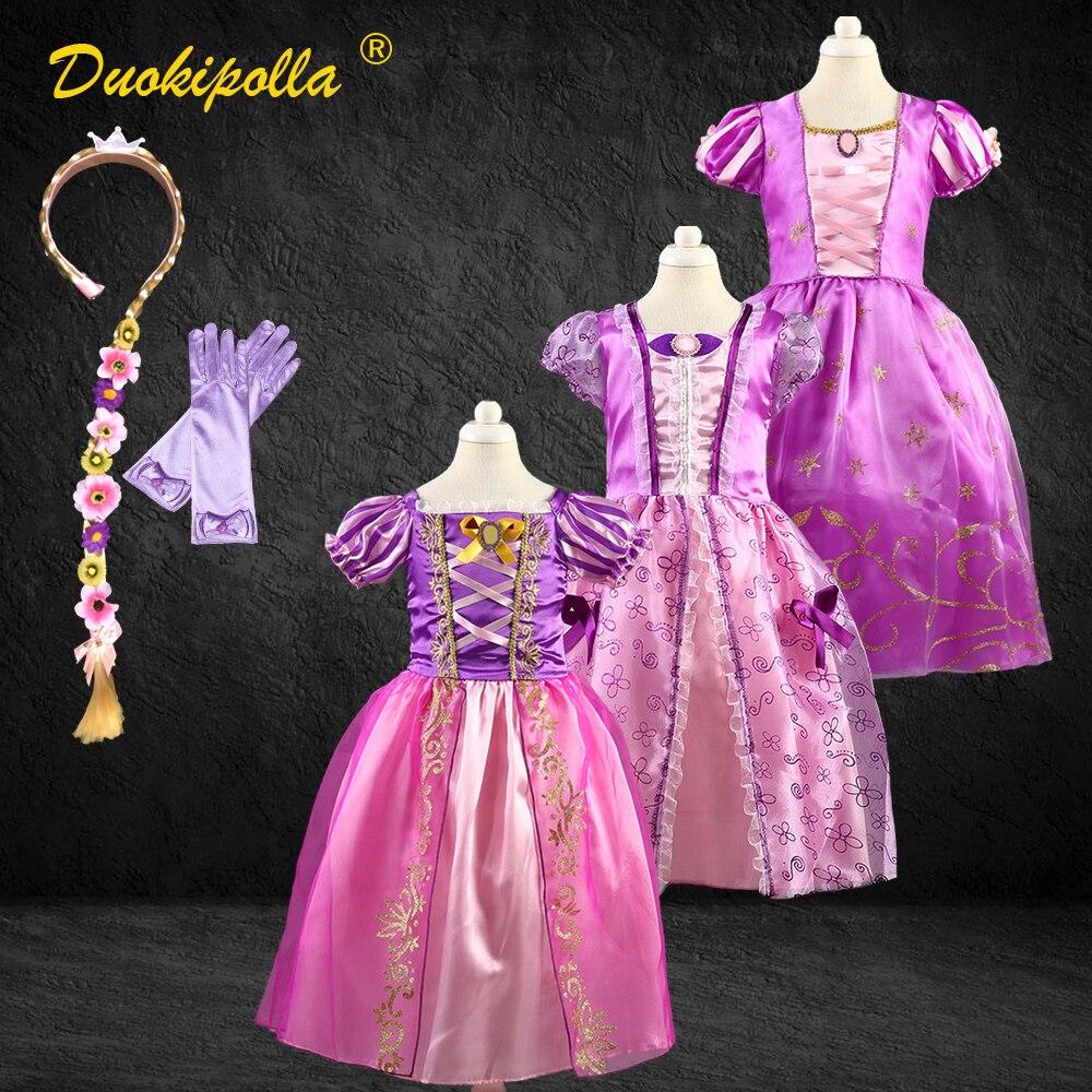 Рождественский костюм на Хэллоуин, детское платье Рапунцель, платье феи Софии на день рождения для девочек, парик из Рапунцель, Fantasia Infantil