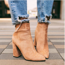 Liren 2019 Spring/Autumn Fashion Women Microfiber Ankle Zip Boots  Pointed Toe Square Heels High Warm