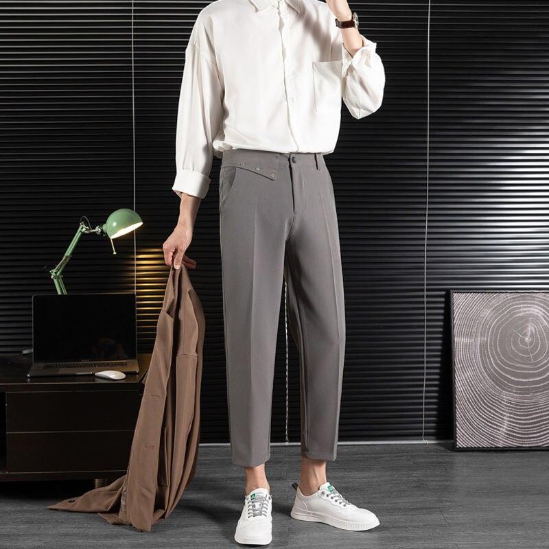 Spring And Summer Suit Pants Men's Slim Fashion Solid Color Business Society Mens Dress Pants Korean Harem Pants Men M-3XL