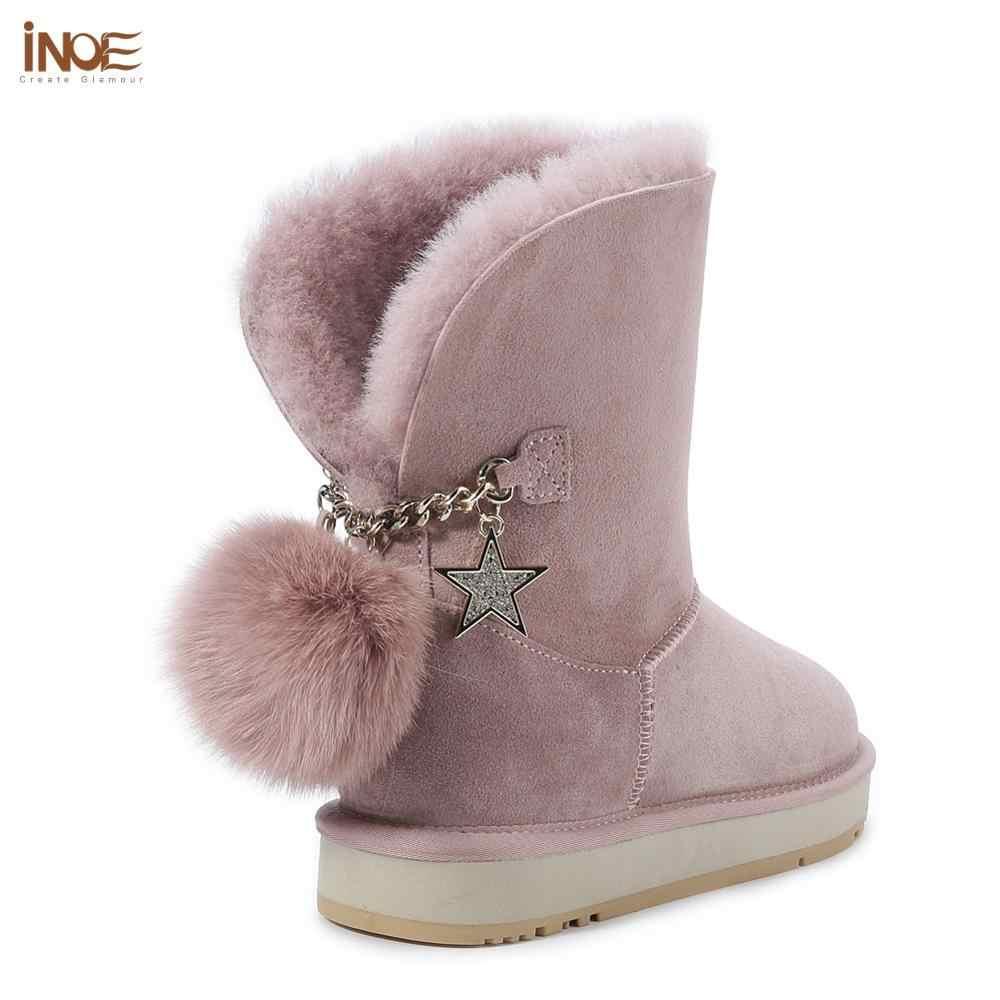 INOE koyun derisi deri yün kürk astarlı süet kışlık botlar kadın kar botları tilki kürk Pom-pom yıldız püsküller Dusk pembe gri