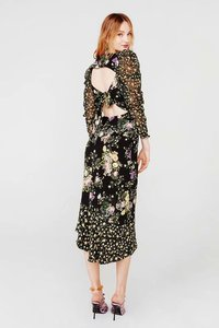 Image 2 - Ross midi dress women 2019 autumn new floral print puff sleeve backless plus size split dress