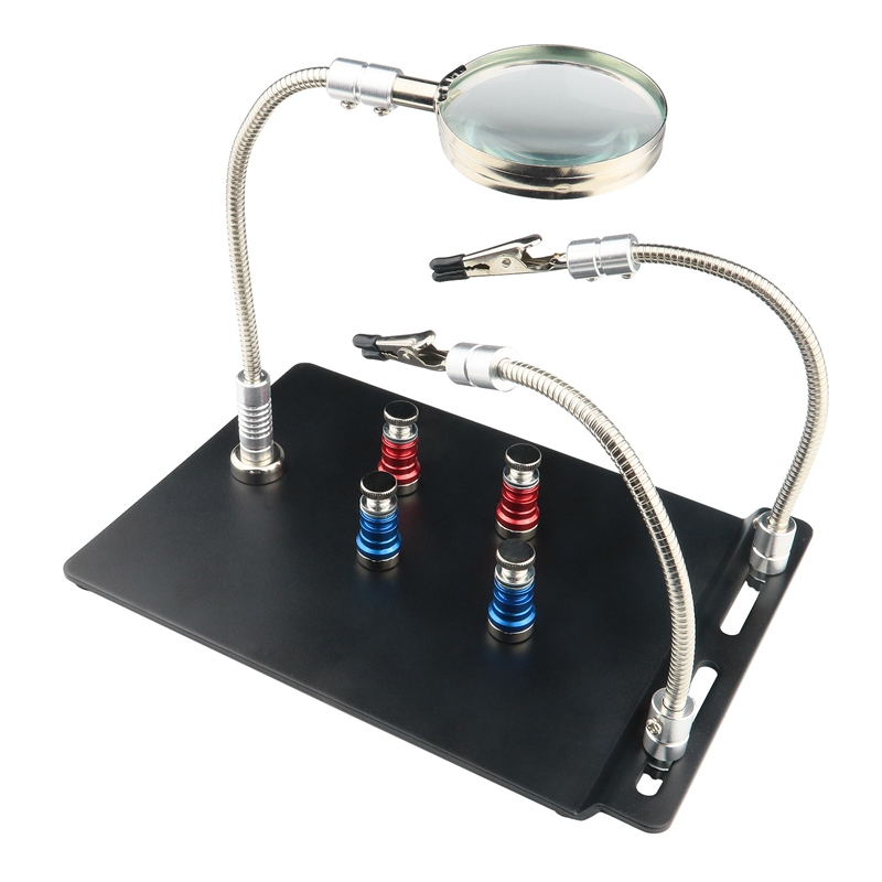 Helping Hand Third Hand Soldering Tools Flexible 360 Degree Stainless Steel Arms 3X Magnifying Lamp With Heavy Duty Base And Rot