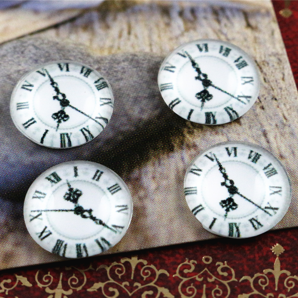 New Fashion  20pcs 12mm Clock Handmade Photo Glass Cabochons Pattern Domed Jewelry Accessories Supplies-E7-46