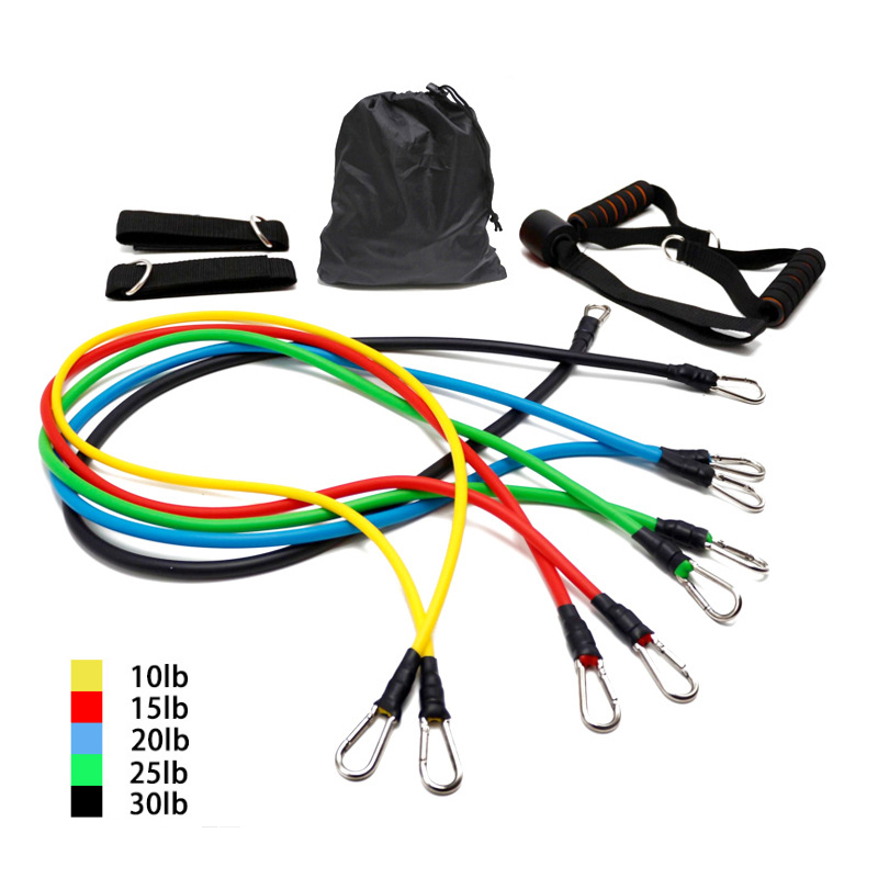 11 PCS Training Resistance Bands Set Fitness Gym Stretch Expander Pull Rope Gym Rubber Pilates Elastic Tubes Workout Equipment