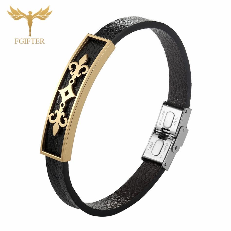 Stainless Steel Man Bracelets Geometric Charm Leather Bracelet for Men Accessory Vintage Jewelry acero inoxidable hombre