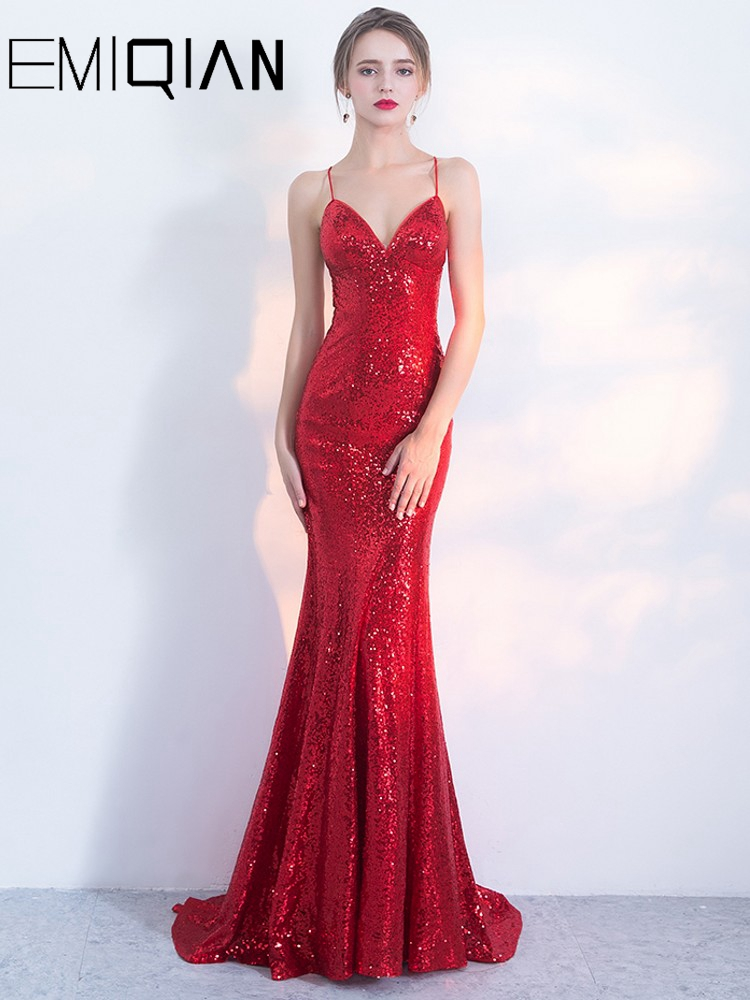 Robe De Soiree Designer Sequin Formal Prom Party Dress Spaghetti Strap Backless Evening Dress