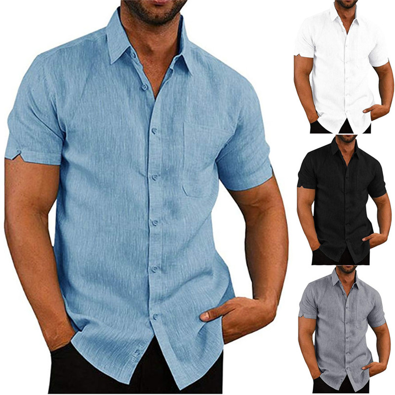 Mens Luxury Short Sleeve Summer Solid Shirts Casual Loose Soft Tops Tee 4 Colors